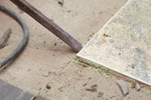 Hammer mason work floor tool — Stock Photo