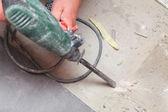 Hammer mason work floor tool — Stock Photo