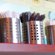 Stock Photo: Tablewares, plugs, knifes and spoons