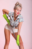 Pinup girl Woman housewife cleaner portrait — Stock Photo