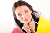 Beautiful shopping woman happy holding bags — Stock Photo