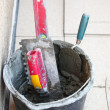 Stock Photo: Mortar on wall construction notched trowel