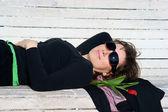 Portrét starší ženy s tulipán — Stock fotografie