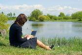 женщина, набрав на ноутбуке снаружи на лугу — Стоковое фото
