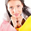 Beautiful shopping woman happy holding bags - Foto de Stock  