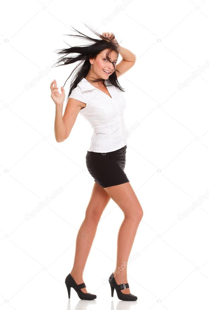 A joyous young female business executive celebrating success with raised hands on white — Stock Photo #16473551