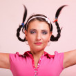 Picture of surprised womhair in pigtail — Stock Photo #16979447