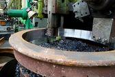 Lathe Turning Stainless Steel — Stock Photo