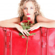 Beautiful young woman blonde romantic red rose — Stock Photo