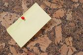 纸夹和推针软木布告牌上 — 图库照片