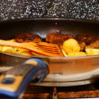 Stock Photo: Seasoned potato slices in skillet pin kitchen