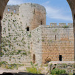 Krak des Chevaliers, citadel tower, fortification castle walls , crusaders fortress, Syria — Stock Photo