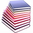 Stock Photo: Hardcover books stack isolated on white