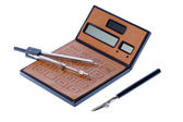 Brown calculator and compass — Stock Photo