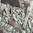 Close up of an old pile of bricks floor tile - Stock Photo