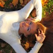 Stock Photo: Woman girl portret in autumn leaf