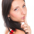 Woman keep quiet gesture finger on mouth isolated - Stock Photo