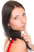 Woman keep quiet gesture finger on mouth isolated — 图库照片