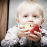 Little boy eating apple — Stock Photo
