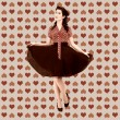 Retro woman on valentine wallpaper texture — Stock Photo