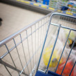 View of a shopping cart with grocery items — Stock Photo