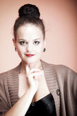 Sexy woman wearing black bra look glance — Stock Photo