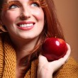 Stock Photo: Autumn womapple fashion female eye-lashes