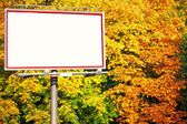 Blank white billboard at the park — Stock Photo