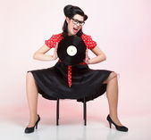 Pin-up girl style retro woman analogue record — Stock Photo
