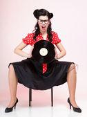 Phonography analogue record Girl pin-up retro — Stock Photo