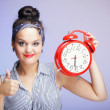 Woman with red clock. Time management concept. — Stock Photo #22196585