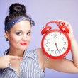 Woman with red clock. Time management concept. — Zdjęcie stockowe