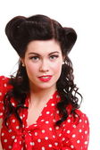 Woman pin-up make-up hairstyle posing in studio — Stock Photo