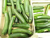 Green zucchini courgette in the supermarket — Stock Photo