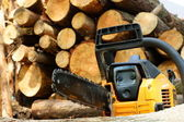 Chainsaw for heavy wood cutting — Stock Photo