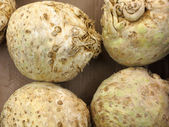 Celery root in market as background — Stock Photo