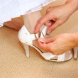 Bride shoes. Leg of young woman in shoes. — Stock Photo
