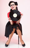 Phonography analogue record Girl pin-up retro — Stock Photo