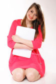 Cute girl with headphones and laptop — Stock Photo