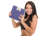Weight loss woman on scale happy — Stock Photo