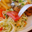 Chicken steak with fries , chips and salad — Stock Photo
