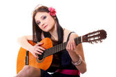 Summer girl with guitar on white background — Stock Photo