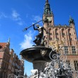 Neptune Fountain and city hall in Gdansk, Poland - Stock Photo