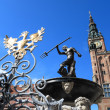 Neptune Fountain and city hall in Gdansk, Poland — Stock Photo #23932475