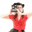 Pin-up girl American style retro woman camera — Stock Photo