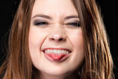 Grimacing. Young Woman Making Silly Face. — Stock Photo