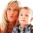 Mature mother with child 6 years boy isolated — Stock Photo #24413991