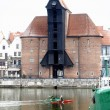 Moltawa river and the crane in Gdansk, Poland - Stock Photo