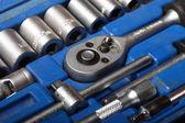 Closeup toolkit set tools in blue box — Stock Photo