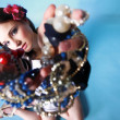 Summer girl plenty of jewellery beads in hands - 